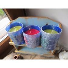 Свечи с рунами и знаками  на желания,  в стаканах комплект 3 шт